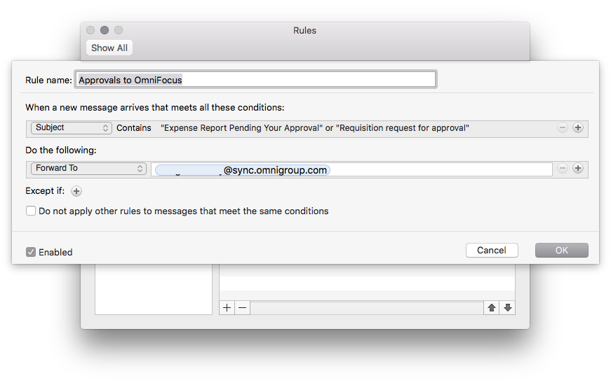 mail rule - forward to omnifocus