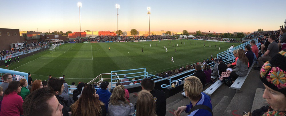 Panorama at National Sports Center of MN United game.